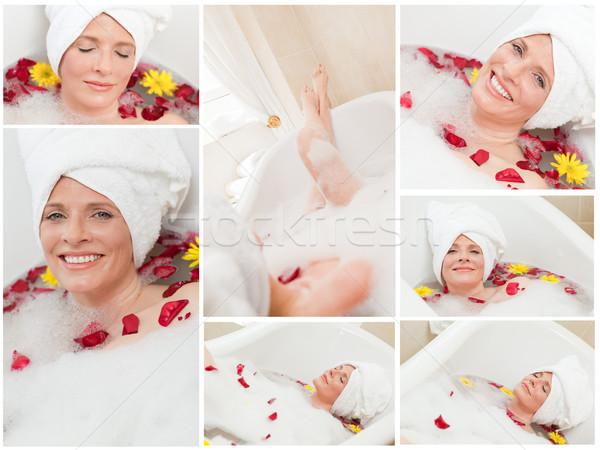 Kolaj kadın banyo su gülümseme ışık Stok fotoğraf © wavebreak_media