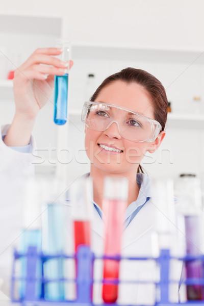 Portré aranyos tudós néz teszt csövek Stock fotó © wavebreak_media