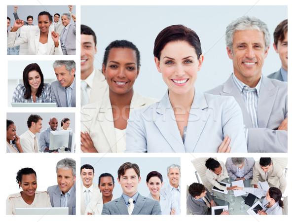 Stock foto: Collage · Geschäftsleute · unterschiedlich · Büro · Arbeit