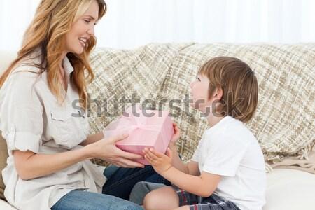 Jungen Frauen Einkaufstaschen Wohnzimmer Modell Stock foto © wavebreak_media