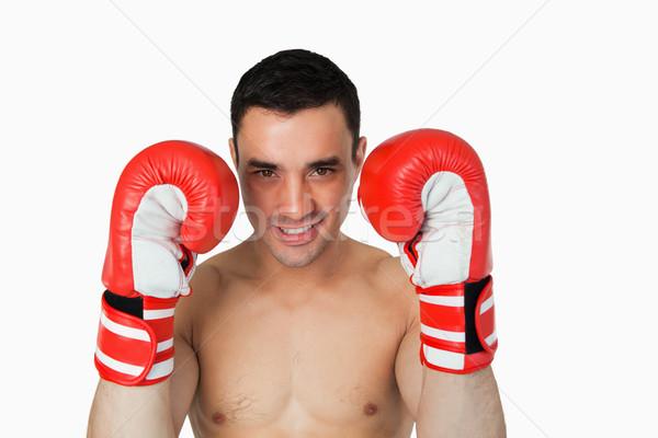 Uśmiechnięty bokser okładka biały sportu Zdjęcia stock © wavebreak_media