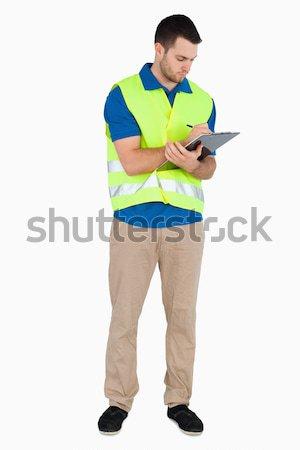Młodych mężczyzna bezpieczeństwa kurtka biały Zdjęcia stock © wavebreak_media