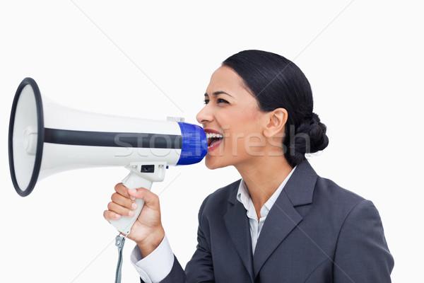 Közelkép elarusítónő kiált megafon fehér üzlet Stock fotó © wavebreak_media