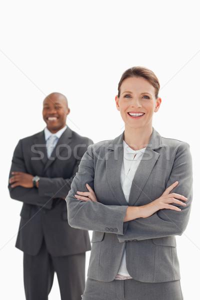 Сток-фото: улыбаясь · деловая · женщина · бизнесмен · рук · заседание · счастливым