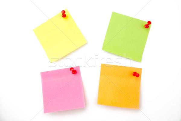 Quatre adhésif note blanche fond orange Photo stock © wavebreak_media