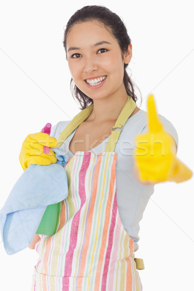Sorrindo avental produtos de limpeza feliz Foto stock © wavebreak_media