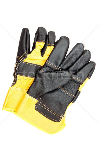 Par preto amarelo construtores luvas Foto stock © wavebreak_media