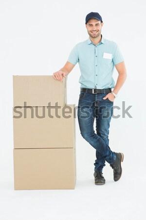 Portré fiatalember csomag doboz fehér boldog Stock fotó © wavebreak_media
