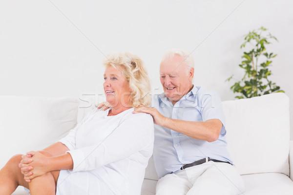 Yaşlı adam oturma odası kadın ev çift Stok fotoğraf © wavebreak_media