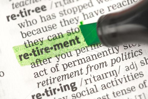 Nyugdíj meghatározás zöld szótár oktatás Stock fotó © wavebreak_media