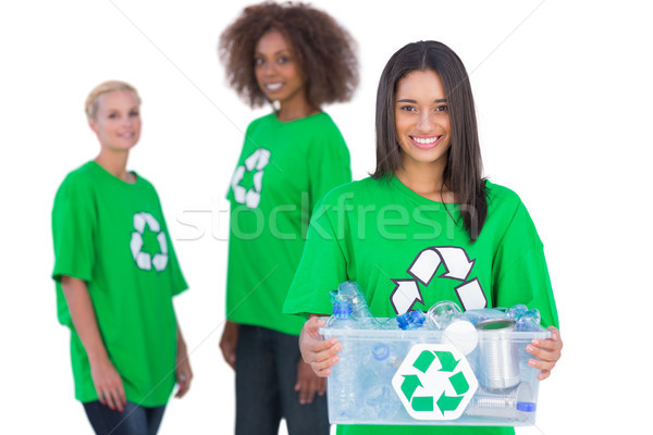 Feminino ativista reciclagem caixa amigos Foto stock © wavebreak_media