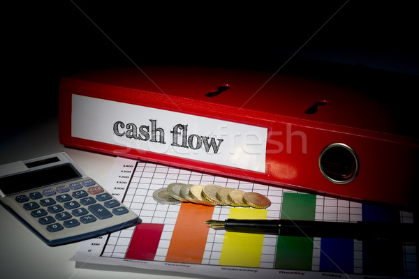 Stockfoto: Cashflow · Rood · business · woord · financieren · calculator