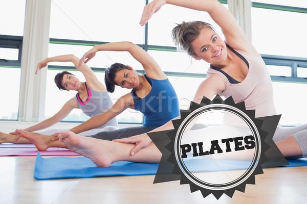 Photo stock: Pilates · badge · mot · femmes · yoga