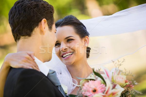 Romântico recém-casado olhando outro parque Foto stock © wavebreak_media