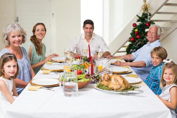 Família natal refeição juntos feliz mesa de jantar Foto stock © wavebreak_media