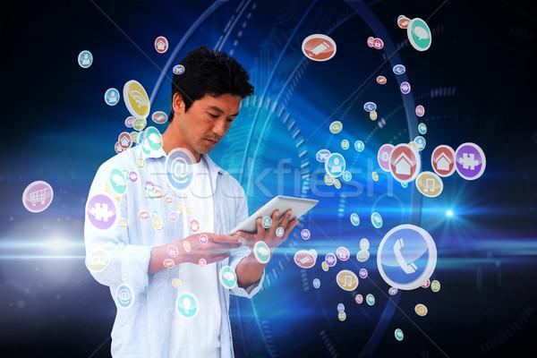 Casual homem comprimido aplicativo ícones composição digital Foto stock © wavebreak_media
