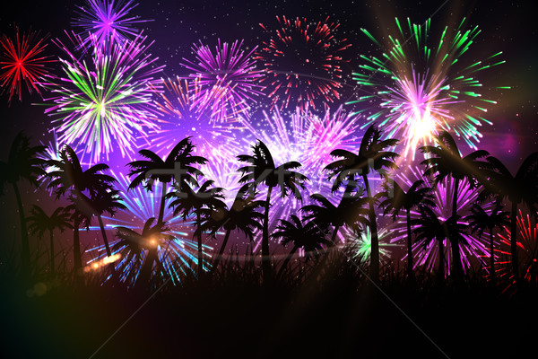 Digitally generated palm tree background with fireworks Stock photo © wavebreak_media