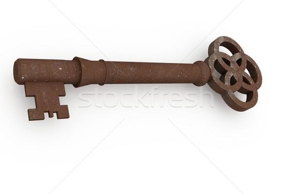 Digitálisan generált rozsdás öreg kulcs fehér Stock fotó © wavebreak_media