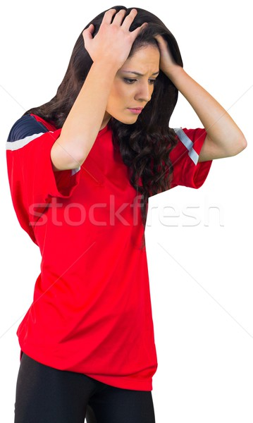 Csalódott futball ventillátor piros fehér futball Stock fotó © wavebreak_media