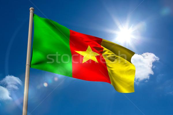 Камерун флаг флагшток Blue Sky солнце свет Сток-фото © wavebreak_media