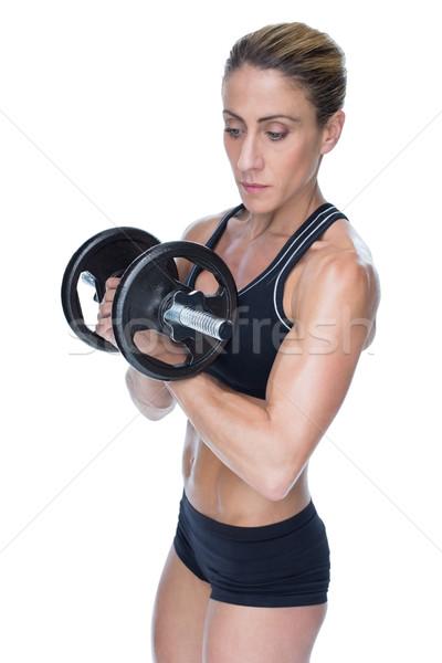 Női erős testépítő tart nagy fekete Stock fotó © wavebreak_media