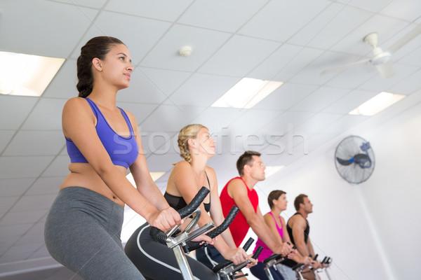 Spinnen klasse glimlachend gymnasium man Stockfoto © wavebreak_media