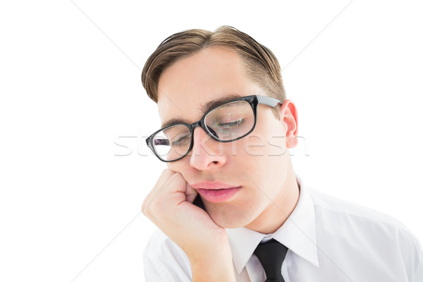 Geeky hipster falling asleep on hand Stock photo © wavebreak_media