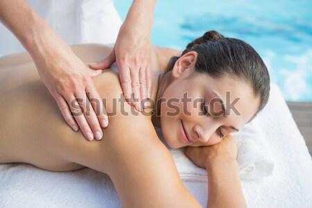 Foto stock: Mujer · atractiva · hombro · masaje · spa · centro
