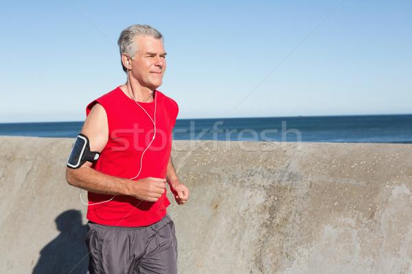 アクティブ シニア 男 ジョギング 桟橋 ストックフォト © wavebreak_media