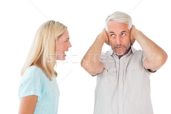 Boldogtalan pár érv férfi nem figyel fehér Stock fotó © wavebreak_media