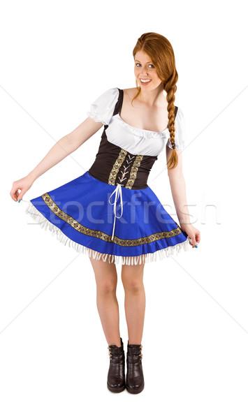Oktoberfest lány szoknya fehér kék női Stock fotó © wavebreak_media