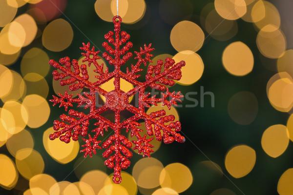 красный Рождества снежинка украшение подвесной расплывчатый Сток-фото © wavebreak_media