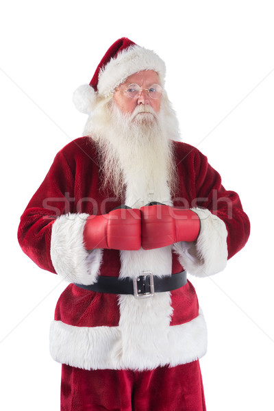 Papai noel luvas de boxe branco homem natal zangado Foto stock © wavebreak_media