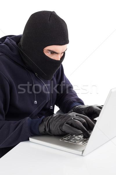 Konzentriert Hacker Hacking Laptop weiß Computer Stock foto © wavebreak_media