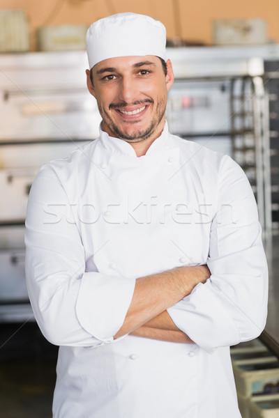 Gülen fırıncı bakıyor kamera mutfak fırın Stok fotoğraf © wavebreak_media