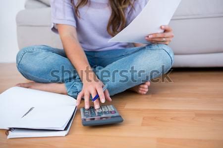 Blond vergadering tapijt calculator home woonkamer Stockfoto © wavebreak_media