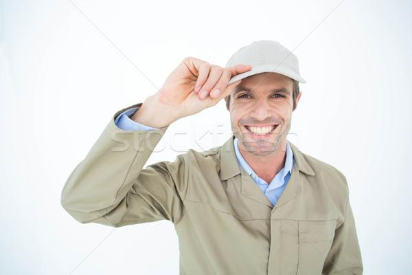 Retrato feliz mensajero CAP blanco Foto stock © wavebreak_media