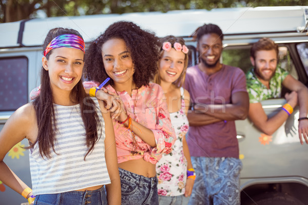 Hipsters hanging out by camper van  Stock photo © wavebreak_media