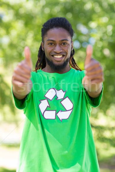 Boldog környezeti aktivista park napos idő kezek Stock fotó © wavebreak_media