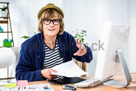 összetett kép portré mosolygó nő számítógéphasználat modern Stock fotó © wavebreak_media