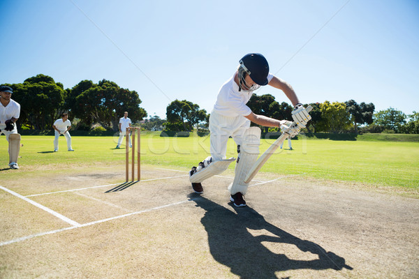 молодым человеком играет крикет области Сток-фото © wavebreak_media