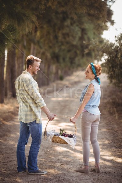Cheerful young couple carrying basket on dirt road at farm Stock photo © wavebreak_media