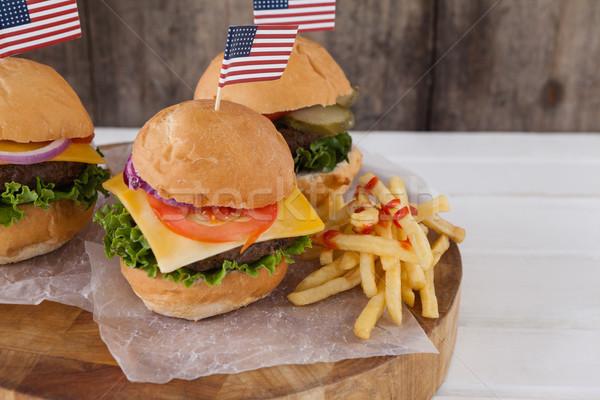 Harapnivalók negyedike fa deszka asztal zászló hús Stock fotó © wavebreak_media