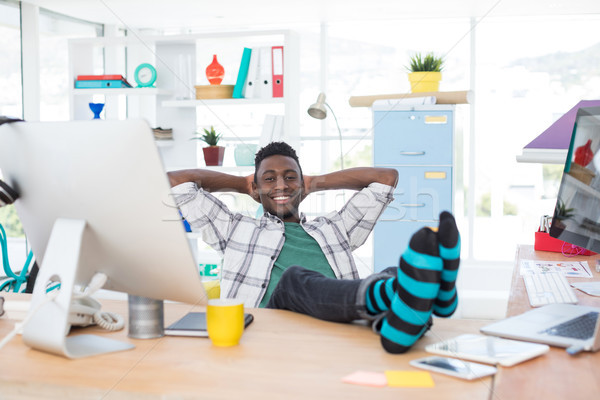 Männlich Executive entspannenden Schreibtisch Büro Computer Stock foto © wavebreak_media