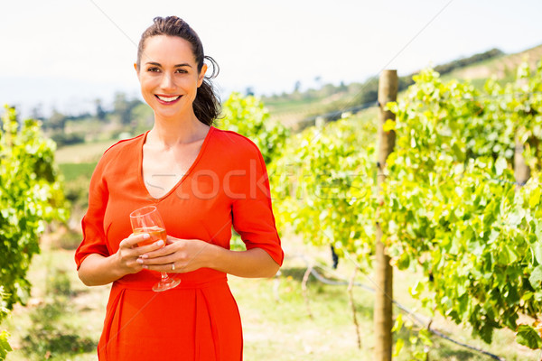 Portrait of smiling beautiful woman holding wineglass Stock photo © wavebreak_media