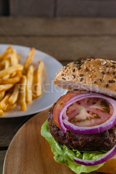 ハンバーガー まな板 クローズアップ 食品 木材 サンドイッチ ストックフォト © wavebreak_media