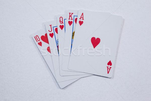 игральных карт белый успех играть улыбаясь Сток-фото © wavebreak_media
