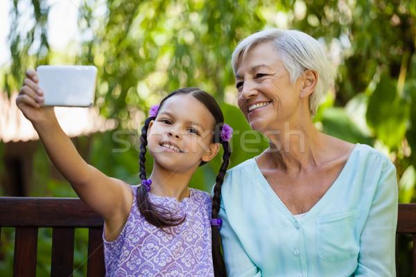 笑みを浮かべて 少女 祖母 幸せ 子 ストックフォト © wavebreak_media