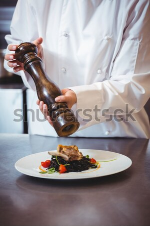 Chef holding delicious dish in kitchen Stock photo © wavebreak_media