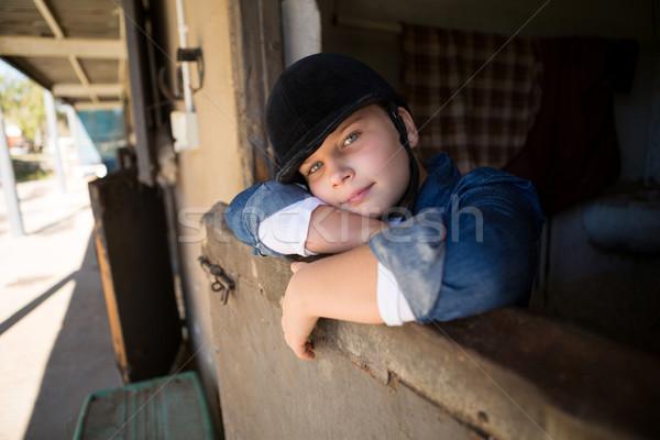 Menina relaxante estável retrato criança aprendizagem Foto stock © wavebreak_media